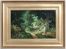 XX English School, Oil on board, A woodland path. 11 x 17 1