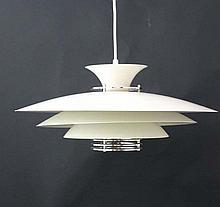 Vintage Retro : a Scandinavian white circular pendant light