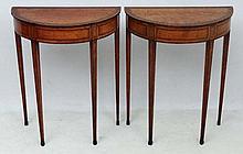 A pair of Geo III demi-lune satinwood side tables of unusua