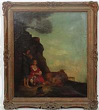 Early XIX English Naive School, Oil on canvas, Shepherds an