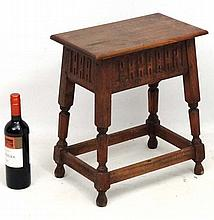 An early 20thC ash, oak and beech joint stool 15 1/2