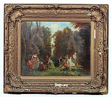 Circle of Jean- Antoine Watteau VXII, Rococo School, Oil on