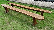A pair of fruit wood refectory benches approx 120