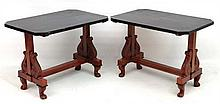 A pair of 19thC Anglo Indian tables with quartered ebonised veneeered tops, trestle supports, acanthus carved corbel and short lions paw feet. Each one 27