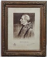 Pope autograph : after Photo by Cav G. Felici , Roma Sepia print bearing signature, ' Benedict XV Pont. Max. MDCCCXIV ' (1914) Signed in pen ink Copyright by Vanheems , London Aperture 21 x 16