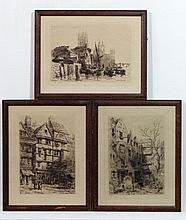 After Ernest George (1839-1922),  3 monochrome etchings signed in pencil,  ' St. Bartholomew , Smithfield '  ' Westminster 1884 '  ' Staples Inn , Holborn , London '  All signed lower  12 1/2 x 9 5/8