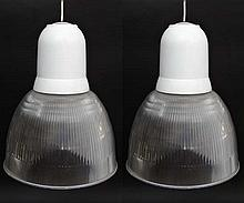 Vintage industrial / Retro : a pair of Holophane style Lexalite pendant lights , having facility for three low energy bulbs. Each 16