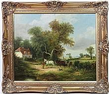 M Gester in the style of James Edwin Meadows,  Oil on canvas,  A tandem hay cart in the country by a cottage,  Signed lower right, details verso  20'' x 24''