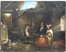 English School early XX,  Oil on canvas,  The spinning wheel,  Indistinctly pencilled verso,  14 x 18
