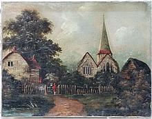 XIX English School ,  Oil on canvas,  Figures conversing by a cottage and church with Steeple,  14 x 18