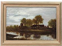 XIX English School,  Oil on board,  Church and cottage beside a river , probably the Great Ouse , Cambs.  10 2/3 x 15 3/4