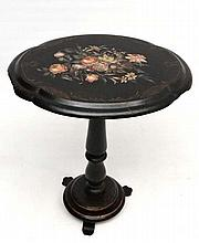 A Victorian papier-mache tilt top tripod table with hand painted gilt and flower decoration to top. 27