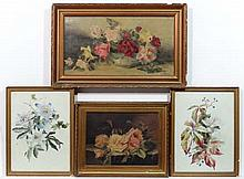 M Thiern c. 1900,  Oil on canvas plus another and 2 watercolours (4),  Still life of flowers ,  One signed lower right and two labelled verso,  The largest 9 1/2 x 17 3/4