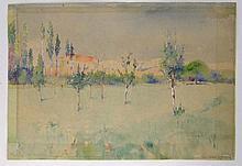 Cecil Leonard Burns (c.1863-1929) British,  Watercolour,  Trees on a grassland , probably Australia,  Signed lower right   9 1/2 x 13 3/4