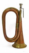 Militaria : An early 20thC British Army Bugle , of copper construction with brass banding , 11
