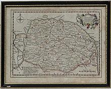 Map : A hand coloured map of Norfolk by Thomas Kitchin ( active 1747 - 60 ) , bears J. Hill & Son picture Framers label verso. 9 3/4