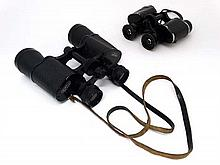 Militaria : A pair of WWII era 8 x 25 Binoculars by Le Touquet , cased , together with a later 12 x 40 pair by Denhill .