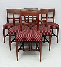 A set of 6 late 18thC inlaid mahogany dining chairs with boxwood stringing etc with overstuffed seats and standing on squared tapering front legs 33 1/2