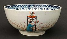 An 18thC Newhall  style 'Chinese' slop bowl decorated withy oriental figures, having stylised blue border to inner rim. 6 1/4'' Diameter.