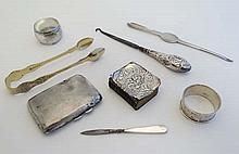 Assorted silver and silver plate items including a HM silver cigarette case Birmingham 1934 maker S Blanckensee & Sons Ltd. A HM silver napkin ring , silver handled button hook, silver plate sugar tongs etc