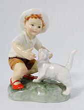 A Royal Worcester '' Snowy '' porcelain figure, number 3457. c1970s.  4 1/2'' High.