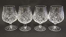 A set of 4 cut crystal brandy glasses, probably by Waterford Crystal  5