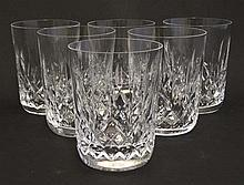Waterford Crystal : A set of 6 cut crystal tubers / glasses. 3 3/8