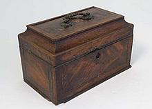 A late 18thC mahogany inlaid tea caddy, the lid opening to reveal a three section interior and a rest. 9 1/2'' wide x 6 '' high.