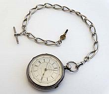 Chronograph Pocketwatch and silver chain : A Hallmarked Silver cased ' Marine Decimal Chronograph Pocket watch with sweeping seconds hand ( colour hardened ) and brass coloured hands, the stepped dial numbered ' 41925' and marked '25, 50,75-300 as