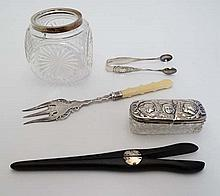 5 assorted items to include a cut glass dressing table pot