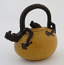A Chinese YiXing Dragon's Egg handmade zisha clay teapot, t