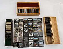 3 wooden boxes containing over 200 magic lantern slides dep