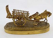 A 19thC gilded cast bronze sculpture, a horse pulling a car