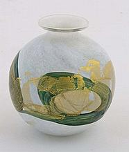 Isle of Wight Glass : a' Golden Peacock' globular vase with