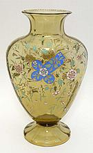 A late 19thC large glass vase with enamelled decoration. Po