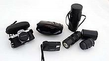 A quantity of cameras and photographic equipment, comprisin
