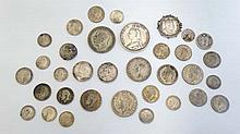 Coins: A quantity of various silver coins etc  Please N