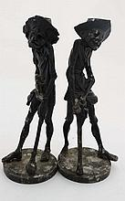 A pair of French novelty spelter figural candlesticks c.188