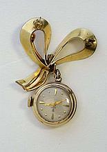 Tudor brooch fob watch : : a ladies Gold plated Tudor mecha