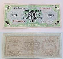 An Italian 500 lire 1943 series bank note  Please Note