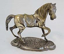 A silver plate on brass Oriental sculpture of a horse upon