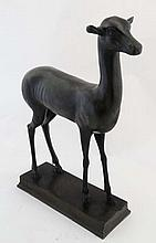 A 19thC patinated bronze sculpture of a deer faun on square