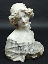 ? A Cipriani ? (XIX- XX) Carved Carrera and white marble sc