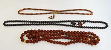 3 various wooden bead necklaces including carved bead examp