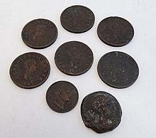 Coins: Assorted early 19thC coins to include Geo III 1/2 d'