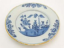 Delft : An early 18thC Dutch Delft plate , signed