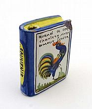 A novelty Quimper flask in the form of a book