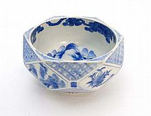 20thC Chinese : An unusual Blue and white Oriental