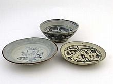 18 / 19thC Chinese Ceramics : A Tek Sing blue and