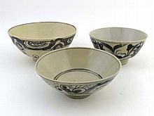 Three 18 / 19 th C Chinese Bowls ,all with blue